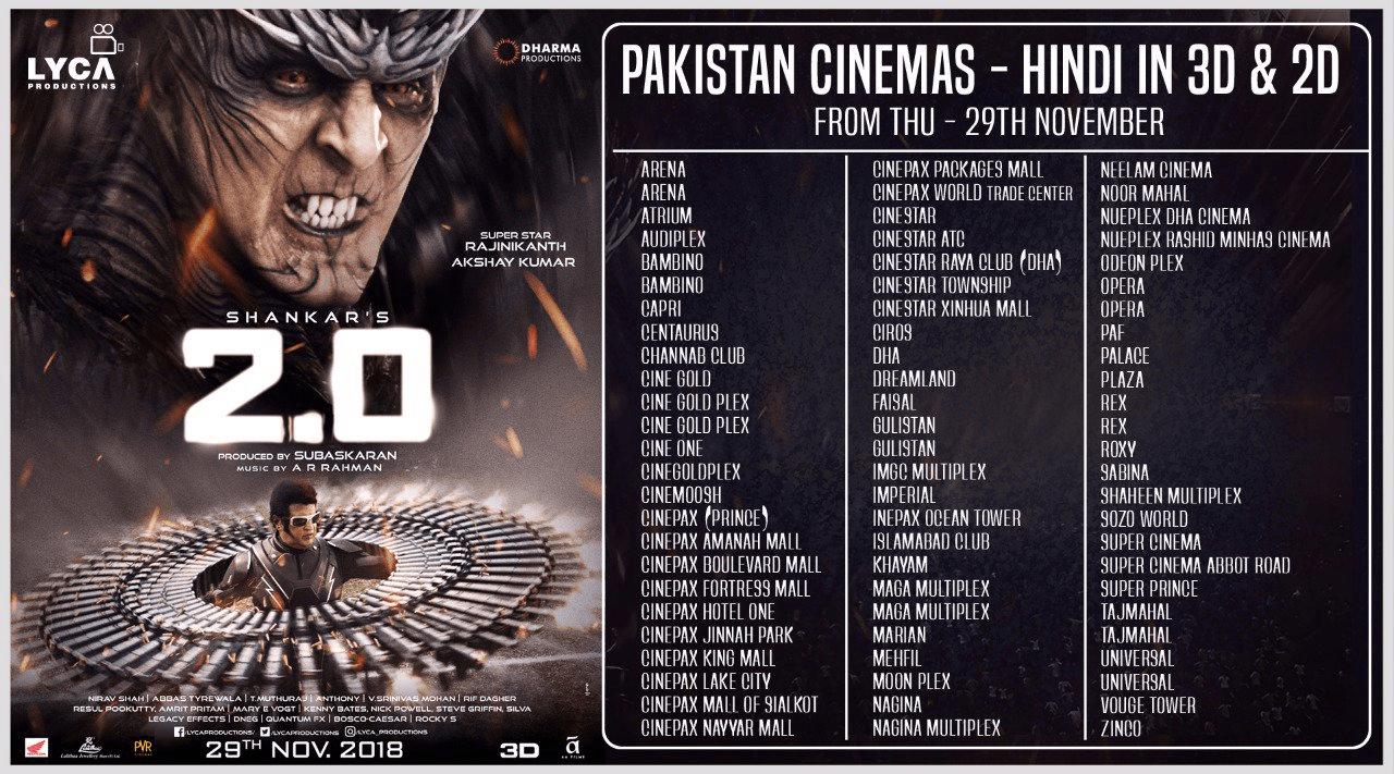 2.0 Movie Pakistan Theaters List