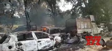 Bulandshahr: A view of vehicles that were damaged after violence erupted in Uttar Pradesh's Bulandshahr where a police Inspector was attacked and shot dead by a Hindu mob protesting against alleged cow slaughter while a young man was gunned down in unexplained circumstances on Dec 3, 2018.  (Photo: IANS)