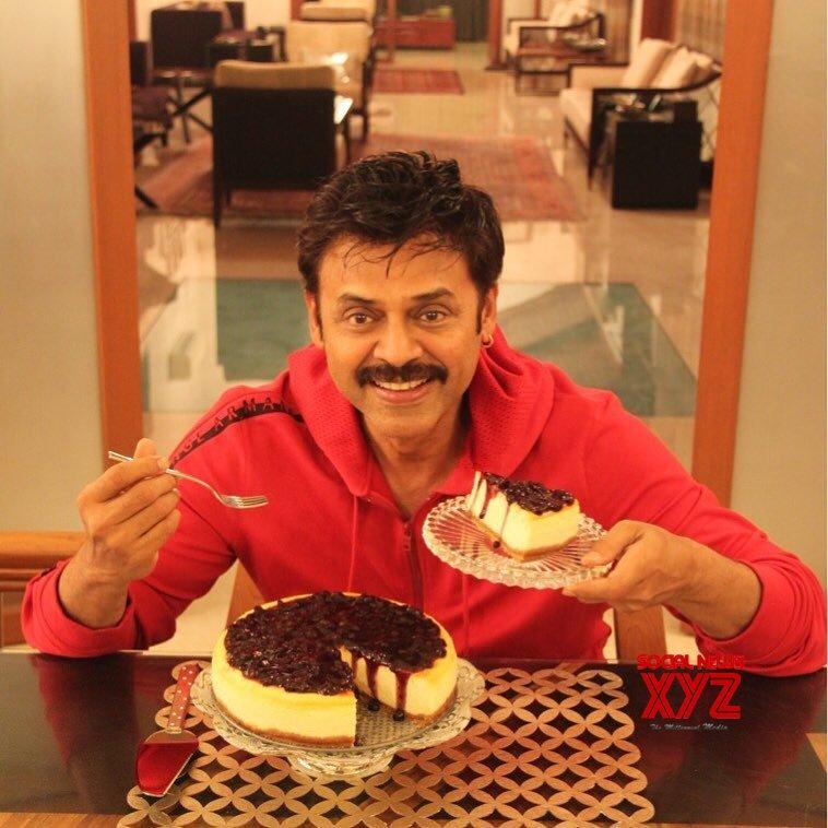 Venkatesh Latest Still Enjoying A Cheese Cake