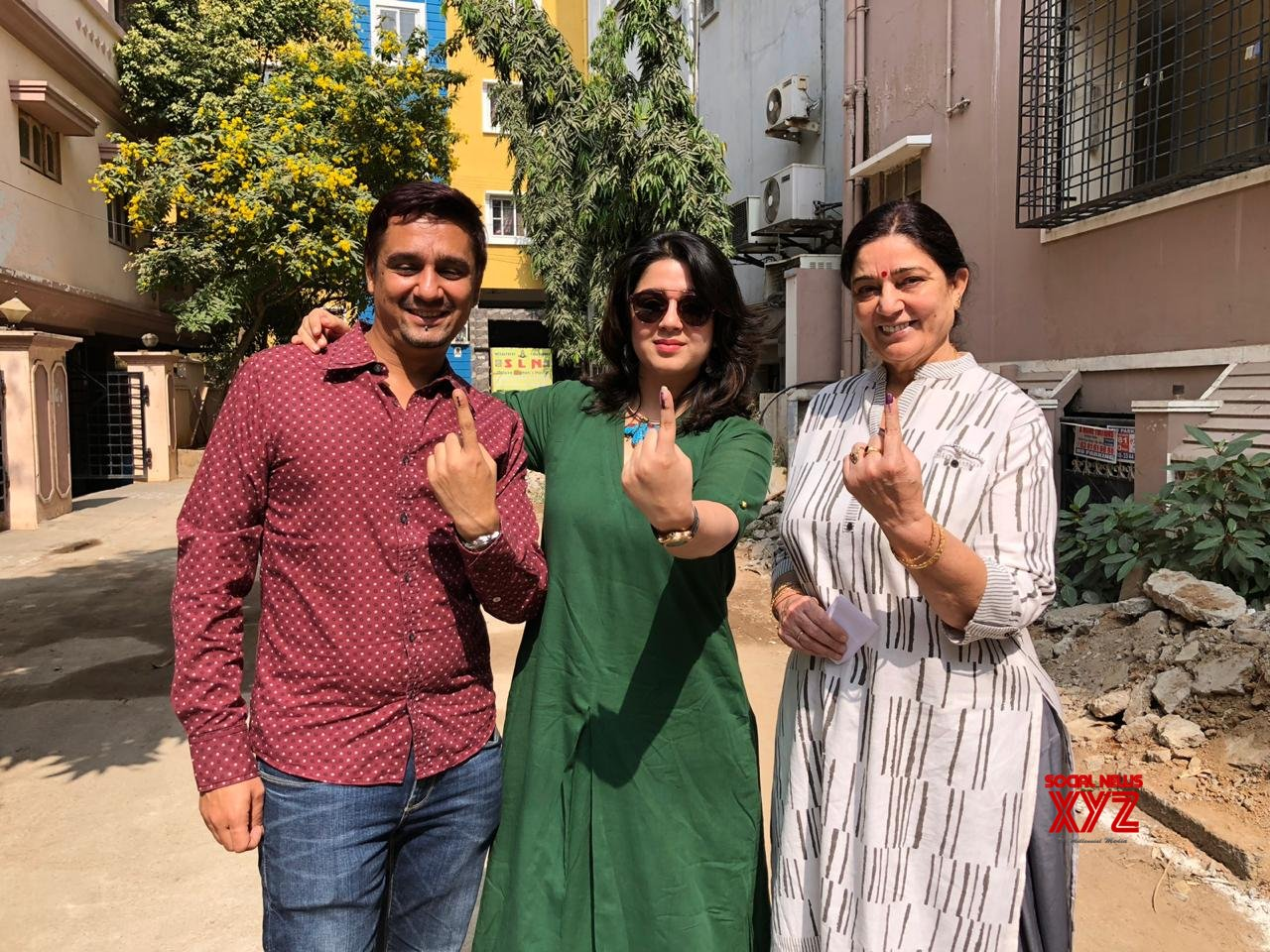 Actress Charmy Kaur Stills From Voting In Telangana Elections 2018