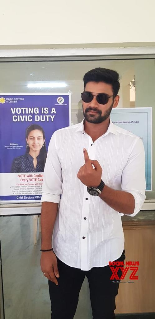 Hero Bellamkonda Sai Sreenivas Stills From Voting In Telangana Elections 2018