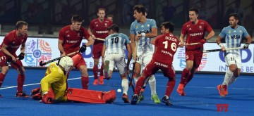 Bhubaneswar: Players in action during a Men's Hockey World Cup 2018 match between Argentina and England at Kalinga Stadium in Bhubaneswar on Dec 12, 2018. (Photo: IANS)