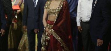Mumbai: Actress Janhvi Kapoor at the wedding ceremony of industrialist Mukesh Ambani's daughter Isha Ambani and Anand Piramal at Antilia in Mumbai on Dec 12, 2018. (Photo: IANS)