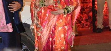 Mumbai: Actress Rekha at the wedding ceremony of industrialist Mukesh Ambani's daughter Isha Ambani and Anand Piramal at Antilia in Mumbai on Dec 12, 2018. (Photo: IANS)