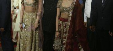 Mumbai: Producer Boney Kapoor with his daughters Janhvi Kapoor and Khushi Kapoor at the wedding ceremony of industrialist Mukesh Ambani's daughter Isha Ambani and Anand Piramal at Antilia in Mumbai on Dec 12, 2018. (Photo: IANS)