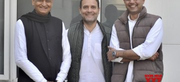 New Delhi: Congress President Rahul Gandhi with party leaders Ashok Gehlot and Sachin Pilot in New Delhi on Dec 14, 2018. (Photo: IANS)