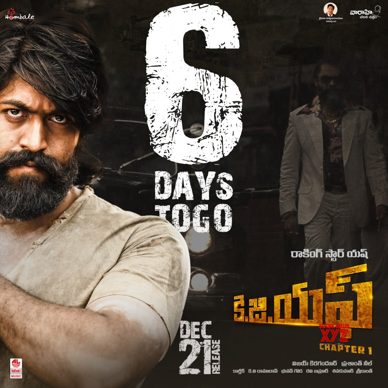 KGF Movie 6 Days To Go Poster
