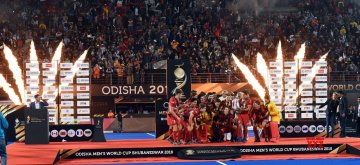 Bhubaneswar: Players of Belgium hockey team celebrate their win against Netherlands during their final at Men's Hockey World Cup 2018 in Bhubaneswar on Dec. 16, 2018. (Photo: IANS)