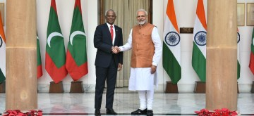 New Delhi: Prime Minister Narendra Modi meets the newly-elected Maldivian President, Ibrahim Mohamed Solih at Hyderabad House in New Delhi, on Dec 17, 2018. (Photo: IANS/MEA)