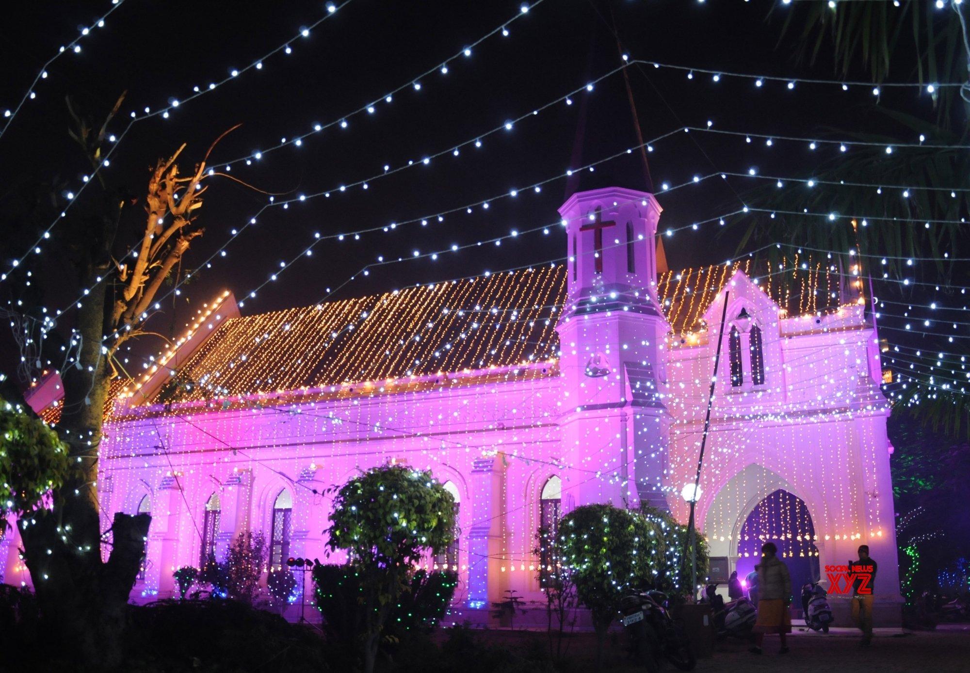 Amritsar: Christmas preparations - An illuminated St Paul's Church #Gallery