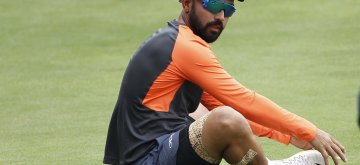 Hyderabad: India's Ajinkya Rahane during a practice session ahead of the second test match between India and West Indies at the Rajiv Gandhi International Cricket Stadium, in Hyderabad on Oct 10, 2018. (Photo: Surjeet Yadav/IANS)