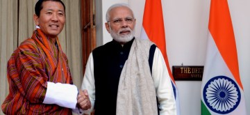 New Delhi: Prime Minister Narendra Modi meets Bhutan Prime Minister Dr. Lotay Tshering, at Hyderabad House, in New Delhi on Dec 28, 2018. (Photo: IANS)