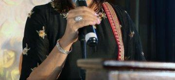 Long Island: Former Congress MP Priya Dutt addresses at the Nargis Dutt Memorial Foundation's 37th Annual Gala in New York's Long Island, USA on Oct 29, 2018. (Photo: Mohammed Jaffer/IANS)