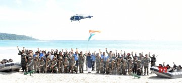Port Blair: Union Defence Minister Nirmala Sitharaman with the Tri-Services troops of Andaman and Nicobar Command (ANC) in Port Blair, on Jan 14, 2019. (Photo: IANS/PIB)