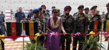 Port Blair: Union Defence Minister Nirmala Sitharaman inaugurates Married Accommodation Project at Birchgunj Military Station in Port Blair on Jan 14, 2019. (Photo: IANS/DPRO)