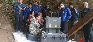 Ksan: Indian Naval divers detected pictures of a body using an underwater ROV (remotely operated vehicle) in Ksan of Meghalaya's East Jaintia Hills district, where 15 miners have remained trapped since December 13, on Jan 17, 2019. The body that has been detected 32 days after the miners were trapped inside, has been pulled up to the mouth of the mine and will be the extracted out under the supervision of doctors. Rescue efforts are on to salvage the remaining 14 miners. (Photo: IANS)