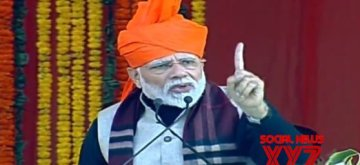 Jammu: Prime Minister Narendra Modi addresses a public meeting in Jammu, on Feb 3, 2019. (Photo: IANS)
