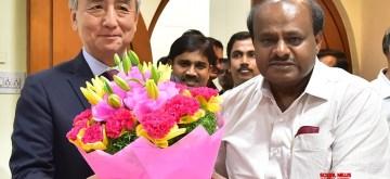 Bengaluru: A Japanese delegation led by Ambassador of Japan to India, Kenji Hiramatsu calls on Karnataka Chief Minister H D Kumaraswamy, in Bengaluru on Jan 5, 2019. (Photo: IANS)
