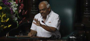 Bengaluru: Karnataka Assembly Speaker K.R. Ramesh Kumar during the Budget Session of the state assembly, in Bengaluru on Feb 7, 2019. (Photo: IANS)