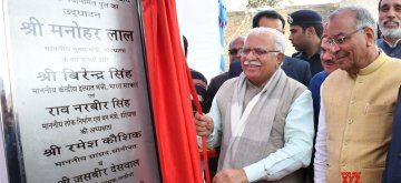 Safidon: Haryana Chief Minister Manohar Lal Khattar inaugurates a bridge in Safidon of Haryana's Jind on Feb 11, 2019. (Photo: IANS)