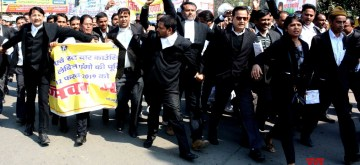 Patna: Lawyers participate in a march to press for their various demands in Patna, on  Feb 12, 2019. (Photo: IANS)