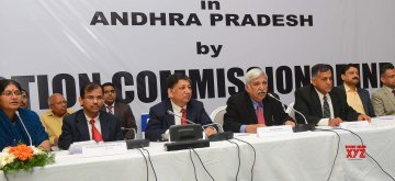 Hyderabad: Chief Election Commissioner Sunil Arora accompanied by Election Commissioner Ashok Lavasa, addresses a press conference in Hyderabad, on Feb 12, 2019. (Photo: IANS)
