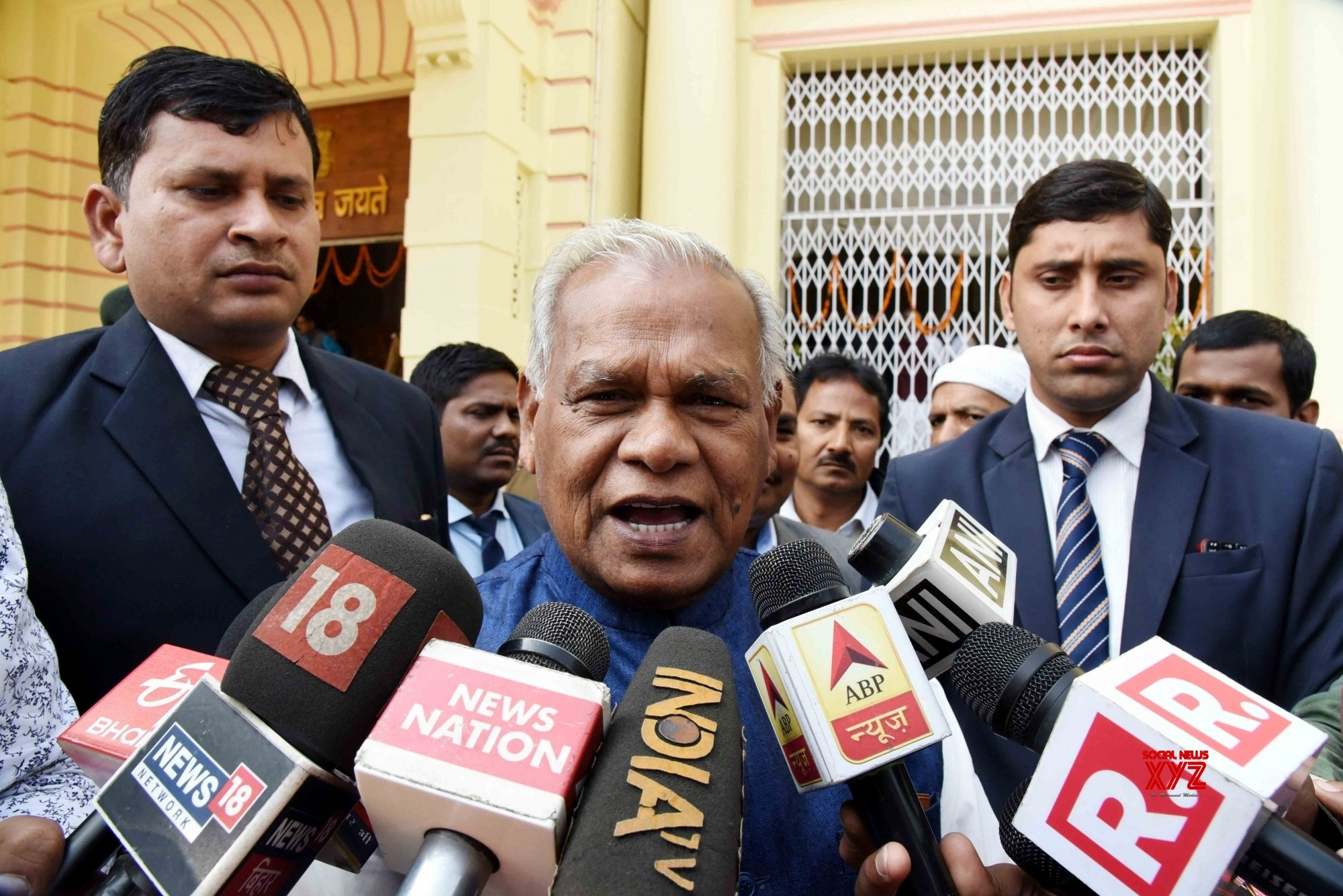 Patna: Jitan Ram Manjhi talks to media #Gallery