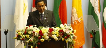 (141126) -- KATHMANDU, Nov. 26, 2014 (Xinhua) -- Maldives President Abdulla Yameen adresses his opening speech during the opening session of the 18th South Asian Association for Regional Cooperation (SAARC) Summit at City Hall in Kathmandu, Nepal, Nov. 26, 2014. (Xinhua/Pool/Narendra Shrestha) ****Authorized by ytfs****
