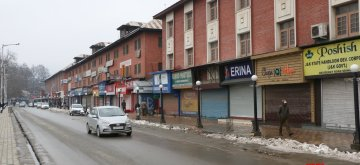 Srinagar: Shops remain closed in Srinagar during a shutdown called by separatists in support of Article 35-A of the Constitution on Feb 13, 2019. (Photo: IANS)