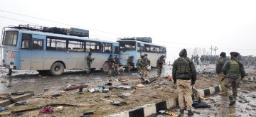 Pulwama: Pulwama: The site on on the Srinagar-Jammu highway where 20 Central Reserve Police Force (CRPF) troopers were killed and 15 others injured in an audacious suicide attack by militants in Jammu and Kashmir's Pulwama district on Feb 14, 2019. All the injured have been shifted to the Army's Base Hospital in Srinagar. (Photo: IANS)