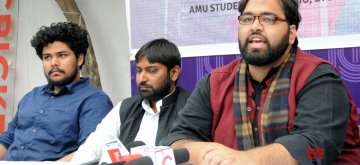 New Delhi: Students Islamic Organisation's Fawaz Shaheen and Syed Azharuddin during a press conference regarding sedition charges on Aligarh Muslim University students in New Delhi on Feb 15, 2019. (Photo: IANS)