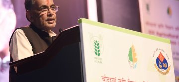 New Delhi: Union Minister for Agriculture and Farmers Welfare Radha Mohan Singh addresses at the inauguration of the XIV Agriculture Science Congress on Innovations for Agricultural Transformation, in New Delhi on Feb 20, 2019. (Photo: IANS/PIB)