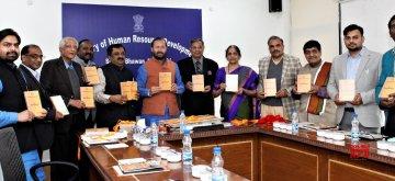 New Delhi: Union Minister for Human Resource Development Prakash Javadekar releases the Documentaries on Pancha Mahakavyas and Coffee Table Book, prepared by Kavikulaguru Kalidas Sanskrit University, Ramtek, in New Delhi on Feb 22, 2019. (Photo: IANS/PIB)