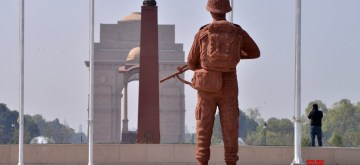 New Delhi: A soldier statue at the 'National War Memorial' near India Gate which will be inaugurated by Prime Minister Narendra Modi on February 25, in New Delhi, on Feb 24, 2019. (Photo: IANS)