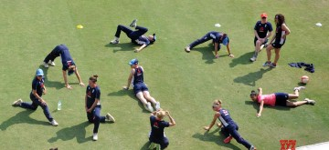 Guwahati: England women cricketers during a practice session ahead of their T20 International Cricket match against India at ACA Cricket Stadium Barsapara, in Guwahati on March 3, 2019. (Photo: IANS)