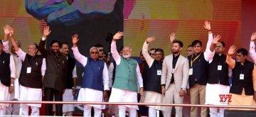 Patna: Prime Minister Narendra Modi along with Bihar Chief Minister Nitish Kumar, Deputy Chief Minister Sushil Kumar Modi and Union Ministers Ramvilas Pasvan, Ravi Shankar Prasad and Ram Kripal Yadav waves to the crowd at 'Sankalp Rally' in Patna, on March 3, 2019. (Photo: IANS)