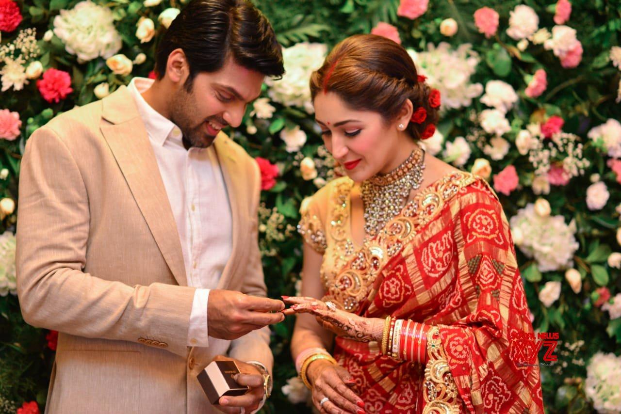 Arya And Sayyeshaa's Wedding Reception In Chennai Stills