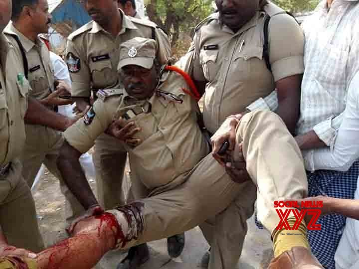 TDP leader Thikka Reddy and a Police were injured in a Political riot !