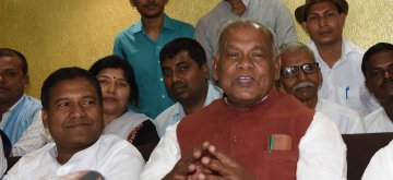 Patna: HAM-S chief Jitan Ram Manjhi addresses a press conference after chairing a meeting of the party's Parliamentary Board, in Patna on March 16, 2019. (Photo: IANS)