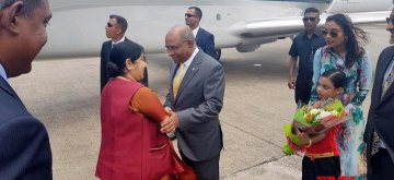 Maldives: External Affairs Minister Sushma Swaraj being received by Maldives Foreign Minister Abdulla Shahid at airport in Maldives on March 17, 2019. (Photo: IANS/MEA)