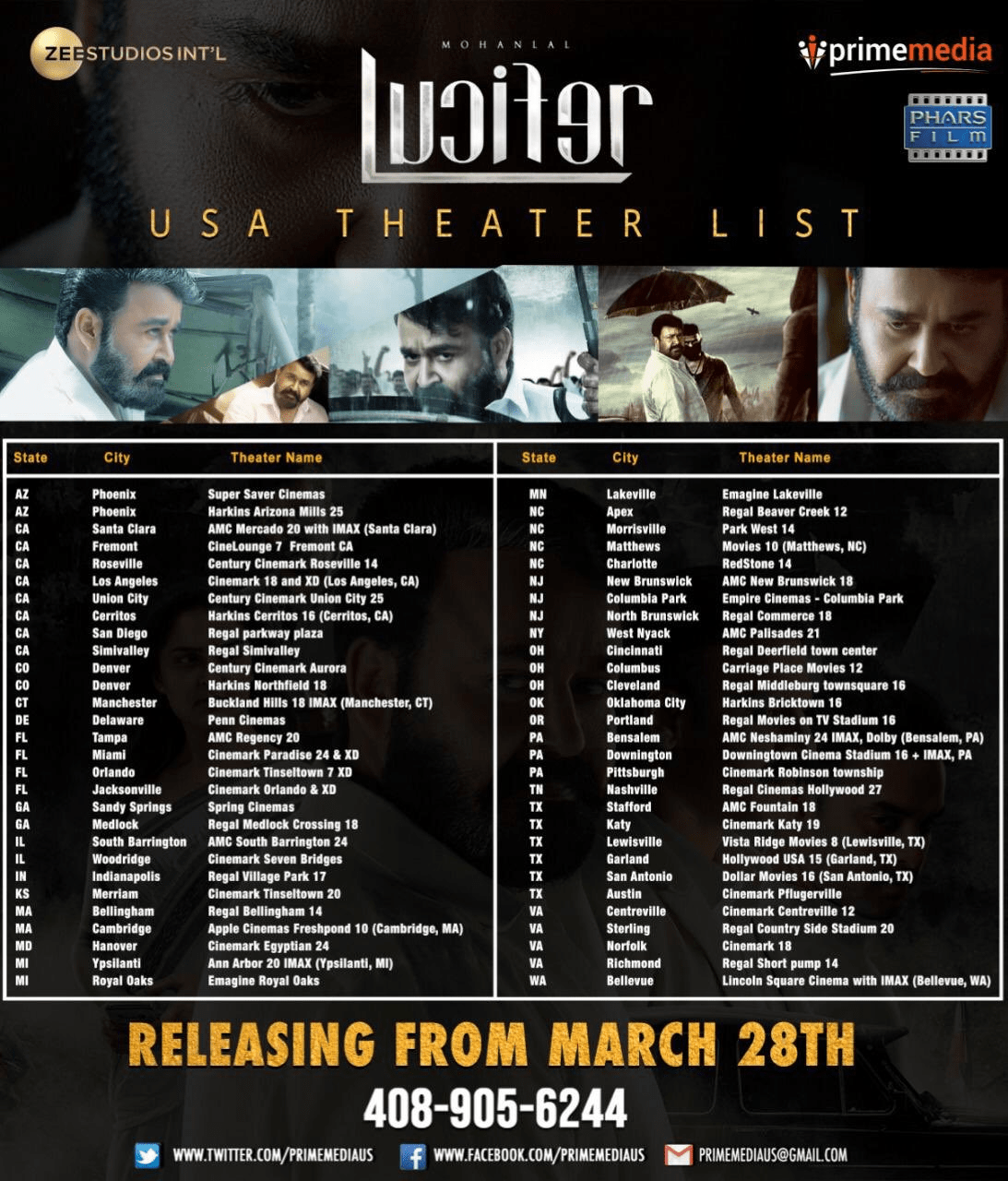 Mohanlal's Lucifer Movie USA Theaters List