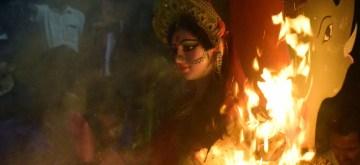 Amritsar: 'Holika Dahan' -burning of holy pyres - underway on the eve of 'Holi' in Mathura on March 20, 2019. (Photo: IANS)