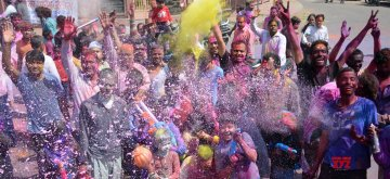 Lucknow: Holi celebrations underway in Lucknow, on March 21, 2019. (Photo: IANS)