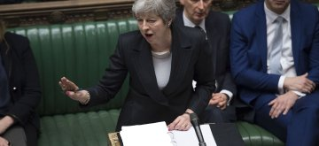 (190320) -- LONDON, March 20, 2019 (Xinhua) -- British Prime Minister Theresa May (Front) speaks during the Prime Minister's Question Time in the House of Commons in London, Britain, on March 20, 2019. Theresa May confirmed Wednesday she has written to the European Union seeking to delay Britain's departure from the bloc until June 30. (Xinhua/UK Parliament/Jessica Taylor) HOC MANDATORY CREDIT: UK Parliament/Jessica Taylor