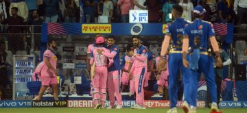 Mumbai: Rajasthan Royals celebrate after winning the 27th match of IPL 2019 against Mumbai Indians at Wankhede Stadium in Mumbai, on April 13, 2019. (Photo: IANS)
