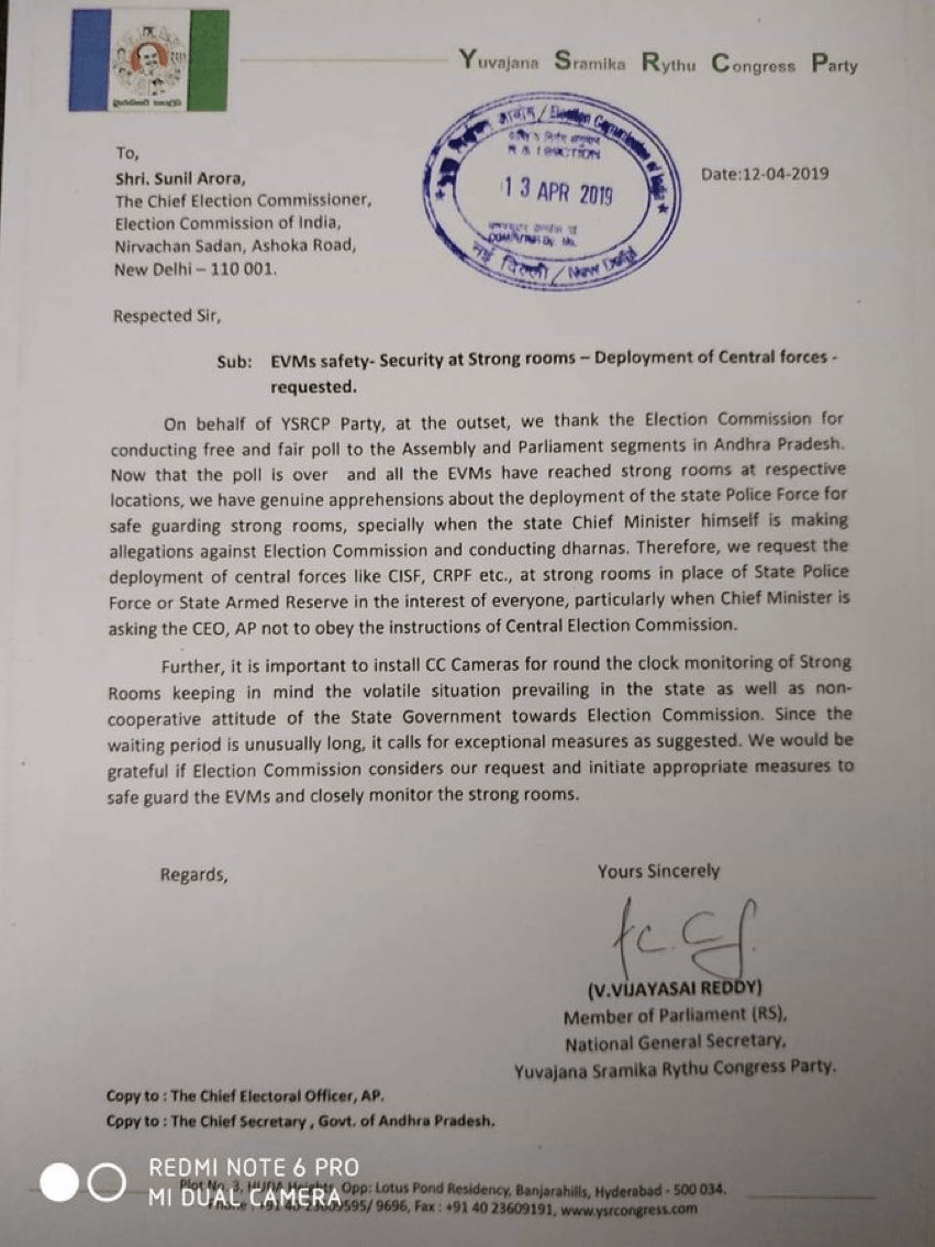 YSRCP Leader Vijay Sai Reddy Letter Thanking EC For Conducting Free