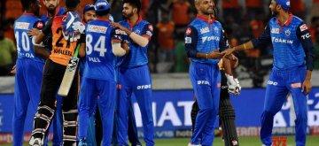 Hyderabad: Delhi Capitals' celebrate after winning the 30th match of IPL 2019 against Sunrisers Hyderabad at Rajiv Gandhi International Stadium in Hyderabad on April 14, 2019. (Photo: IANS)