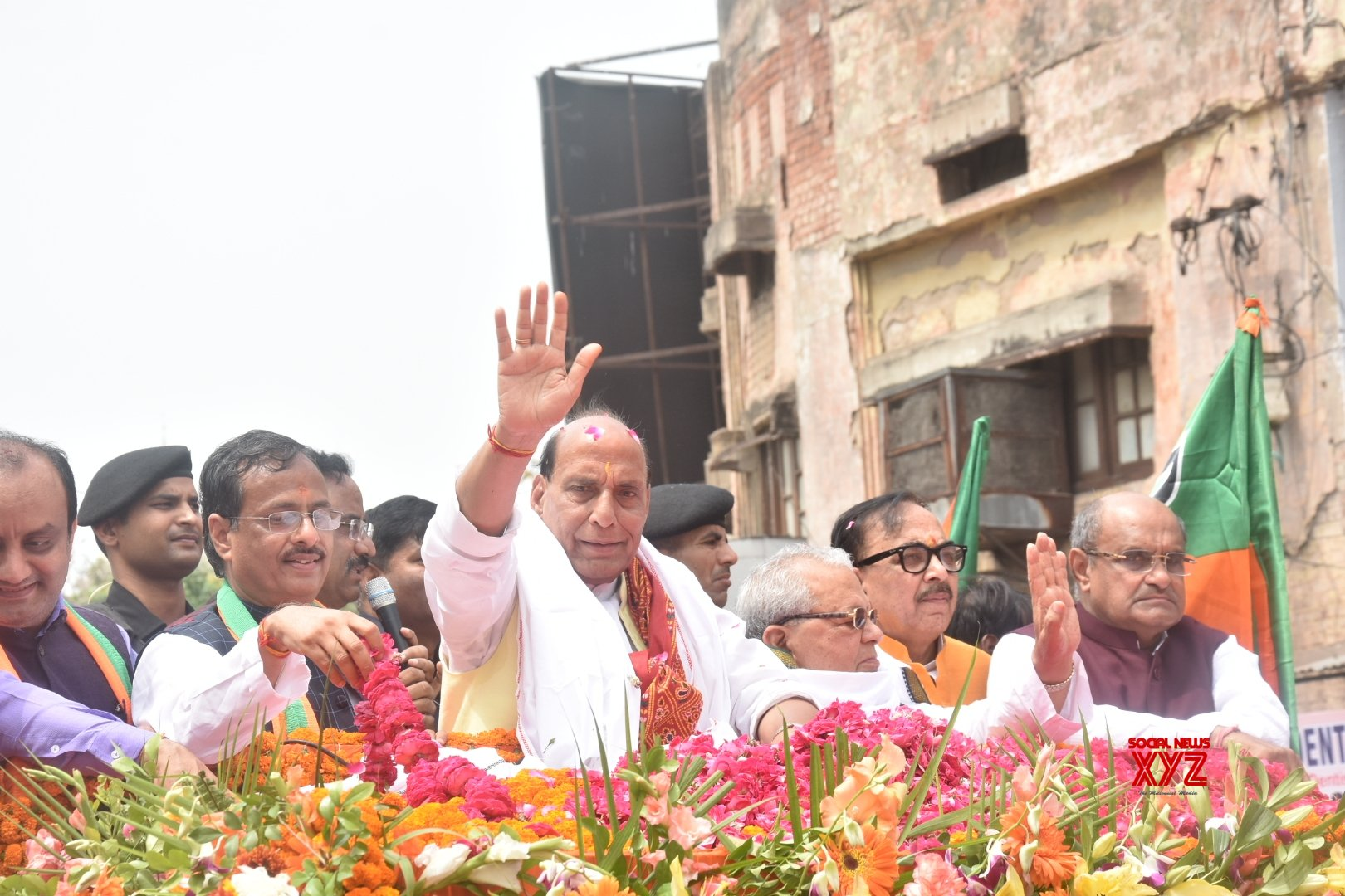 Lucknow: 2019 Lok Sabha elections - Rajnath Singh during a roadshow ahead of filing nomination #Gallery