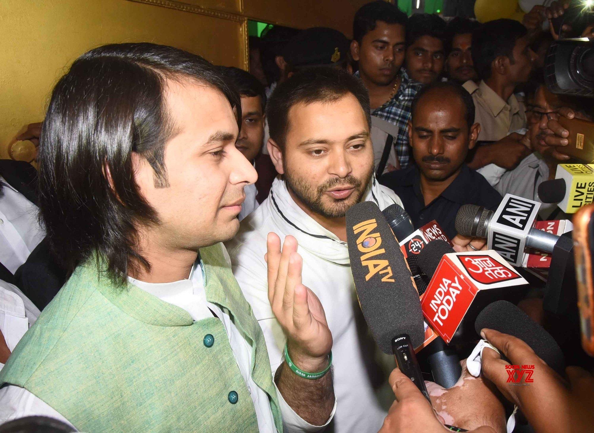 Patna: Tejashwi Yadav, Tej Pratap Yadav talk to the media #Gallery