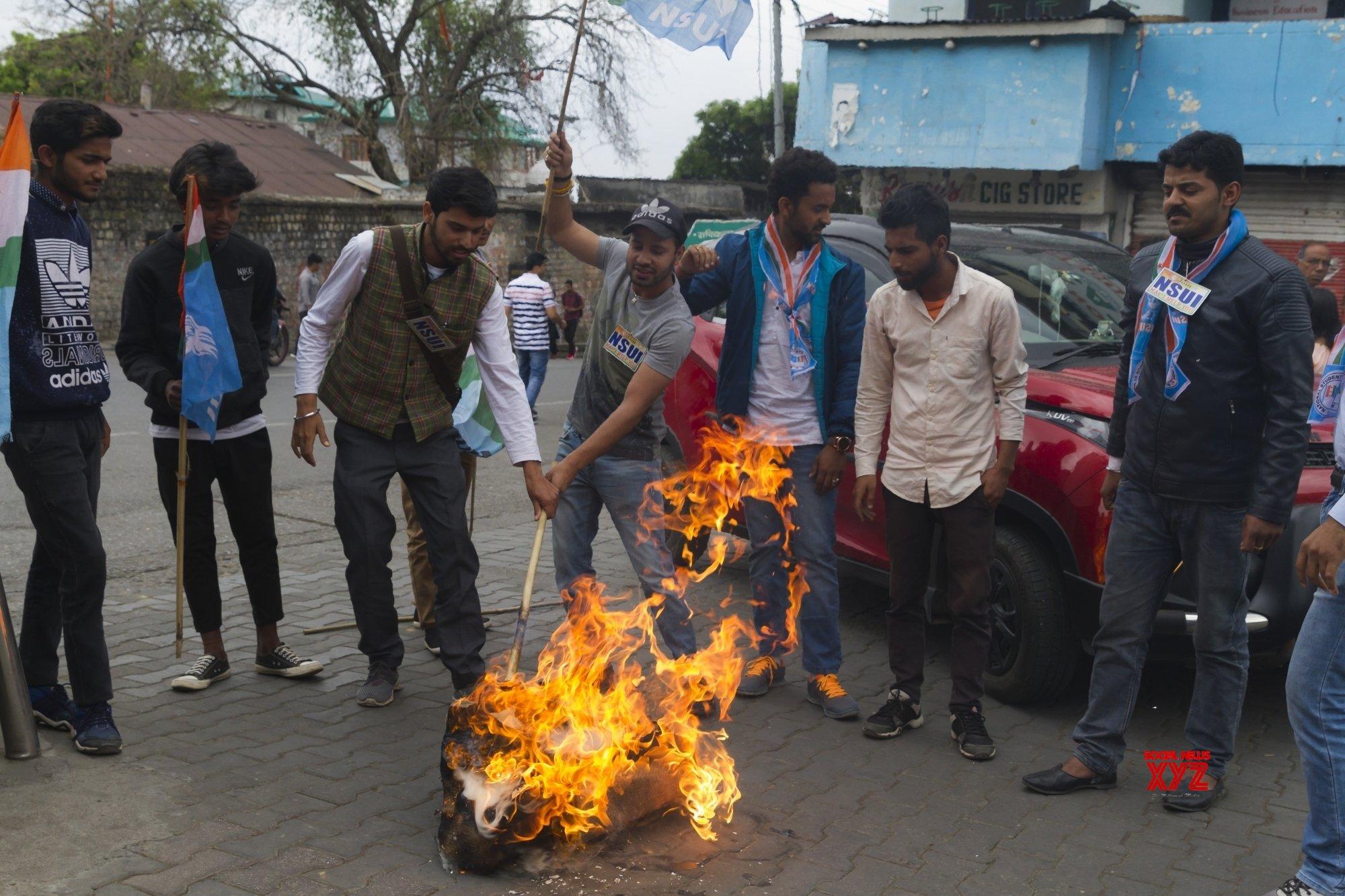 Dharamsala (Himachal Pradesh): NSUI's demonstration against Himachal BJP chief #Gallery